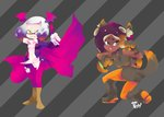 2girls 3d_rod! animal_costume animal_ears cape commentary head_wings hime_(splatoon) iida_(splatoon) multiple_girls splatoon splatoon_2 tail vampire_costume wolf_costume wolf_ears wolf_paws wolf_tail