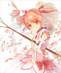1girl arrow bow_(weapon) brown_eyes dress flower gloves hair_ribbon highres holding holding_weapon huanxiang_heitu kaname_madoka kyubey looking_at_viewer mahou_shoujo_madoka_magica pink_hair red_ribbon ribbon short_hair smile twintails weapon white_gloves