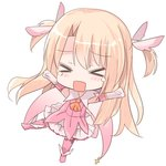 1girl >_< ascot blonde_hair blush boots chibi closed_eyes commentary_request cross elbow_gloves facing_viewer fate/kaleid_liner_prisma_illya fate_(series) feathers full_body gloves hair_feathers illyasviel_von_einzbern knee_boots long_hair natsu_(sinker8c) open_mouth orange_neckwear outstretched_arms pink_feathers pink_footwear pink_shirt pleated_skirt prisma_illya shirt simple_background skirt sleeveless sleeveless_shirt solo tears two_side_up very_long_hair white_background white_gloves white_skirt