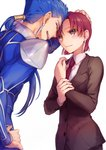 1boy 1girl :d bazett_fraga_mcremitz black_pants blue_bodysuit blue_hair bodysuit brown_jacket closed_eyes couple earrings fate/hollow_ataraxia fate_(series) floating_hair formal hair_ornament hair_over_shoulder hand_on_another's_head hand_on_hip jacket jewelry lancer long_hair long_sleeves misoiri_(gokutsubushi) mole mole_under_eye necktie open_mouth pants red_eyes red_hair red_neckwear shirt short_hair shoulder_armor simple_background smile spaulders white_background white_shirt