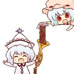 2girls ^_^ ^o^ batta_(ijigen_debris) blue_hair buck_teeth chibi closed_eyes fang food hat holding instrument merlin_prismriver multiple_girls nattou open_mouth pouring prank red_eyes remilia_scarlet short_hair simple_background smile touhou trumpet white_background white_hair