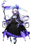 1girl chandelure commentary_request dress drill_hair expressionless feathers fire frills full_body gen_5_pokemon gloves headdress highres katagiri_hachigou lavender_hair long_hair long_sleeves looking_at_viewer personification pokemon puffy_sleeves purple_gloves scythe shoes simple_background solo turtleneck white_background white_legwear wide_sleeves yellow_eyes