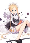 1girl abigail_williams_(fate/grand_order) bangs black_dress black_footwear blonde_hair bloomers blue_eyes blush bow braid breasts butterfly_hair_ornament closed_mouth commentary_request dress eyebrows_visible_through_hair fate/grand_order fate_(series) forehead hair_ornament hand_up heroic_spirit_chaldea_park_outfit highres jehyun keyhole long_sleeves orange_bow parted_bangs shirt shoe_soles shoes sitting sleeveless sleeveless_dress sleeves_past_fingers sleeves_past_wrists small_breasts smile solo stuffed_animal stuffed_toy teddy_bear underwear white_background white_bloomers white_shirt