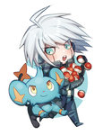 1boy :o ahoge android blue_eyes blush carrying chibi closed_mouth crossover danganronpa gen_4_pokemon holding holding_poke_ball keebo male_focus new_danganronpa_v3 open_mouth poke_ball poke_ball_(generic) pokemon pokemon_(creature) round_teeth running shinx silver_hair smug sweatdrop teeth too_many two-tone_background yellow_eyes zuizi