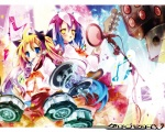 1boy 1girl :3 blonde_hair blue_eyes blush cellphone character_request drum drumsticks greed_packet_unlimited guitar hair_ribbon headset instrument kamiya_yuu magic_circle microphone mouth_hold multicolored_hair navel nokia otoko_no_ko phone ribbon school_uniform short_hair smile speaker twintails wallpaper yellow_eyes
