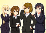 4girls akiyama_mio alternate_hairstyle black_eyes black_hair blazer blonde_hair blue_eyes blush brown_eyes brown_hair closed_mouth collared_shirt diesel-turbo dress_shirt formal hair_between_eyes hair_brushing hair_down hair_ornament hair_over_shoulder hairclip hands_on_another's_shoulders hirasawa_yui holding jacket k-on! kotobuki_tsumugi long_hair looking_at_another multiple_girls office_lady open_mouth outline ponytail revision shirt short_hair simple_background smile suit tainaka_ritsu thick_eyebrows white_shirt wing_collar yellow_background