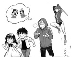 2boys 2girls b-suke blush buruma child comic creator_connection crossover crying crying_with_eyes_open empty_eyes fate/zero fate_(series) fleeing fujimura_taiga greyscale hairband hood hoodie imagining jacket kneehighs matou_kariya matou_sakura monochrome multiple_boys multiple_girls nanaya_shiki o_o ponytail shinai shoes student_no._0 sword tears teenage thought_bubble toono_akiha toono_shiki toosaka_rin track_jacket tsukihime turn_pale weapon you_gonna_get_raped younger
