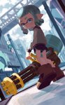 1girl absurdres ajomo aqua_eyes aqua_hair aqua_jacket bangs black_shorts blunt_bangs blurry blurry_background brown_footwear city closed_mouth commentary day depth_of_field dutch_angle from_behind gym_shorts heavy_splatling_(splatoon) heel_up highres holding holding_weapon inkling jacket letterman_jacket light_frown light_particles long_sleeves looking_at_viewer looking_back medium_hair outdoors pointy_ears shoes short_shorts shorts solo splatoon_(series) splatoon_2 standing tentacle_hair weapon