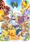 :3 >_< absol alakazam alternate_color articuno badge bandana bellsprout blastoise blue_sky butterfree caterpie charizard cliff closed_eyes clothed_pokemon cloud commentary_request crossed_arms cyndaquil dated day diglett dugtrio ekans flag frown fushigi_no_dungeon gardevoir gen_1_pokemon gen_2_pokemon gen_3_pokemon gengar golem_(pokemon) gulpin hideko_(l33l3b) highres holding jumpluff kangaskhan kecleon legendary_pokemon lombre looking_at_viewer looking_away magnemite mankey map medicham moltres ninetales no_humans nuzleaf octillery open_mouth pelipper persian pikachu pokemon pokemon_(creature) pokemon_(game) pokemon_fushigi_no_dungeon rayquaza shiftry skarmory sky smeargle snubbull sun volcano whiscash wigglytuff wobbuffet wynaut xatu zapdos
