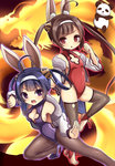 2girls :d ahoge alice360 animal_ears azur_lane bangs bare_shoulders black_legwear breasts brown_eyes brown_hair bunny_ears cleavage cleavage_cutout commentary_request dragon eastern_dragon eyebrows_visible_through_hair fighting_stance fur-trimmed_jacket fur_trim hair_rings hairband hairpods highres jacket leotard long_hair long_sleeves looking_at_viewer medium_breasts multiple_girls ning_hai_(azur_lane) off_shoulder open_mouth panda pantyhose parted_lips ping_hai_(azur_lane) puffy_long_sleeves puffy_sleeves purple_eyes purple_footwear purple_hair purple_leotard red_leotard shoes small_breasts smile standing standing_on_one_leg stirrup_legwear thighhighs twintails v-shaped_eyebrows very_long_hair white_hairband white_jacket
