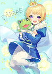1boy :d blonde_hair blush character_name crown earrings idolmaster idolmaster_side-m jewelry kaerre male_focus open_mouth pantyhose pierre_(idolmaster) purple_eyes smile solo stuffed_animal stuffed_frog stuffed_toy toumeitou