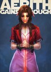 1girl absurdres aerith_gainsborough blue_background bow brown_hair character_name choker closed_eyes commentary cropped_jacket dress english_commentary facing_viewer final_fantasy final_fantasy_vii final_fantasy_vii_remake hands_clasped highres jacket lips long_dress long_hair monori_rogue nose own_hands_together pink_bow pink_dress praying red_jacket ribbon_choker solo standing wristband