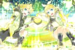 119 1boy 1girl aqua_eyes blonde_hair brother_and_sister gloves hair_ornament hair_ribbon hairclip headphones headset hood hoodie jacket kagamine_len kagamine_len_(append) kagamine_rin kagamine_rin_(append) leg_warmers navel open_clothes open_jacket ribbon short_hair shorts siblings smile tank_top twins vocaloid vocaloid_append