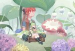 2girls anemos_(elsword) bandaid chilling_hedgehog_(elsword) elesis_(elsword) elf elsword eyebrows_visible_through_hair flower forest leaf leg_wings miniature multiple_girls mushroom nature pointy_ears rain rena_(elsword) shakan_(pixiv28220363) sleeping wings