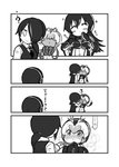 3girls adjusting_clothes alternate_costume alternate_hairstyle blush collared_shirt comic dress_shoes embarrassed emperor_penguin_(kemono_friends) eyebrows_visible_through_hair formal full-face_blush gentoo_penguin_(kemono_friends) greyscale hair_over_one_eye headphones highres imminent_kiss jacket kemono_friends kotobuki_(tiny_life) long_hair long_sleeves monochrome multiple_girls necktie nose_blush pants pleated_skirt ponytail royal_penguin_(kemono_friends) shirt short_hair skirt sparkle suit sweatdrop translation_request twintails vest wall_slam