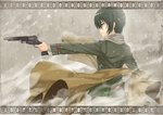 1girl aiming androgynous arm_belt bangs belt belt_buckle belt_pouch brown_belt brown_coat buckle closed_mouth coat coat_removed commentary dark_green_hair fog from_side gabiran green_jacket grey_pants gun hand_up handgun holding holding_gun holding_weapon holster jacket kino kino_no_tabi leather leather_belt long_sleeves looking_away outdoors pants pouch profile revolver scarf shiny shiny_hair short_hair snowing solo tomboy tsurime weapon