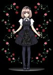 1girl absurdres black_background black_bow black_dress black_hairband black_legwear boots bow bowtie commentary_request dress endou_shin floral_print flower frilled_dress frills full_body gothic_lolita hair_bow hair_ribbon hairband highres light_brown_hair lolita_fashion looking_at_viewer original pantyhose pink_hair pink_lips puffy_sleeves purple_eyes ribbon rose short_hair short_sleeves solo standing