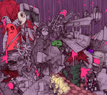 1girl balloon bed blood candle cape cat checkered checkered_floor expressionless faceless glowing glowing_eyes hat instrument knife kyukkyu-kun lantern looking_away madotsuki nankinjouto piano railroad_tracks stairs surreal tokuto-kun train train_interior upside-down witch_hat yume_nikki