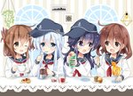 4girls :d ;d akatsuki_(kantai_collection) anchor_symbol bangs bendy_straw black_headwear black_sailor_collar blue_eyes blue_hair blush brown_eyes brown_hair checkerboard_cookie closed_mouth collarbone commentary_request cookie cup drink drinking_glass drinking_straw eye_contact eyebrows_visible_through_hair fang flat_cap folded_ponytail food hair_between_eyes hair_ornament hairclip hat hibiki_(kantai_collection) highres hizuki_yayoi holding holding_cup holding_spoon ice ice_cream ice_cream_float ice_cube ikazuchi_(kantai_collection) inazuma_(kantai_collection) kantai_collection light_bulb long_hair looking_at_another muffin multiple_girls neckerchief one_eye_closed open_mouth picture_frame purple_eyes purple_hair red_neckwear sailor_collar saucer school_uniform serafuku shirt smile spoon striped table upper_body vertical_stripes white_shirt window