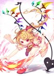 1girl >:) absurdres antenna_hair arm_up ascot blonde_hair bobby_socks bow commentary crystal dated fire flandre_scarlet frilled_shirt_collar frills gunjou_row highres holding holding_weapon laevatein leaning_forward mary_janes no_headwear one_side_up outstretched_arm outstretched_leg puffy_short_sleeves puffy_sleeves red_eyes red_footwear red_ribbon red_skirt ribbon running sash shoes short_hair_with_long_locks short_sleeves side_ponytail signature skirt skirt_set smile socks solo standing standing_on_one_leg torn_clothes touhou weapon white_bow white_legwear wings yellow_neckwear