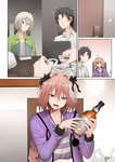 3boys :3 alcohol astolfo_(fate) black_hair black_ribbon blonde_hair blue_eyes blush braid braided_ponytail cellphone comic commentary_request computer door faceless faceless_male fang fate/apocrypha fate/grand_order fate_(series) fujimaru_ritsuka_(male) gao_changgong_(fate) ginhaha hair_ribbon jacket laptop multicolored_hair multiple_boys open_mouth otoko_no_ko phone pink_eyes pink_hair ribbon short_hair silent_comic single_braid smartphone surprised two-tone_hair