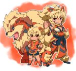 2girls ahoge animal_ears arcanine bandaid bandaid_on_face bandaid_on_knee bangs bare_shoulders bike_shorts blonde_hair blue_footwear blush breasts brown_eyes cleavage cleavage_cutout dog_ears dog_tail dress eyebrows_visible_through_hair fang fang_out fukurou_(owl222) fur_trim gen_1_pokemon grin growlithe hair_between_eyes highres large_breasts legs_apart looking_at_viewer multiple_girls orange_dress orange_legwear pelvic_curtain personification pokemon pokemon_(creature) ponytail red_background red_dress red_eyes red_legwear sash sharp_teeth shoes short_hair smile socks standing tail tattoo teeth thighhighs v-shaped_eyebrows wristband