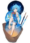 1girl ahoge bare_arms bare_legs barefoot bloomers blue_bow blue_dress blue_eyes blue_hair bow cirno cloud dress eyebrows_visible_through_hair feet flower food full_body hair_between_eyes hair_bow hand_up highres holding ice ice_cream ice_cream_cone ice_wings knee_up looking_at_viewer morning_glory open_mouth popsicle red_ribbon ribbon short_hair simple_background sitting sky sleeveless sleeveless_dress solo star_(sky) starry_sky sunflower takotsu toenails touhou transparent_wings triple_scoop underwear watermelon_bar white_background wings