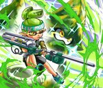 aiming bomberman camouflage_shirt cigarette domino_mask e-liter_3k_(splatoon) firing green_hair headband higami_akabane inkling mask one_eye_closed paint pointy_ears serious shoes shorts sneakers sparkle splatoon tentacle_hair tied_hair white_bomberman yellow_eyes