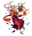 1girl bangs bird clenched_hand dark_skin feh_(fire_emblem_heroes) fire_emblem fire_emblem_heroes flower full_body geta gradient gradient_hair hair_flower hair_ornament highres holding japanese_clothes kawasumi_mahiro kimono laevatein_(fire_emblem) lavender_hair long_hair multicolored_hair official_art one_eye_closed owl parted_lips pink_hair quad_tails rake red_eyes red_hair red_kimono shiny shiny_hair socks solo standing standing_on_one_leg tabi torn_clothes transparent_background twintails very_long_hair white_legwear