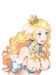 1girl armor blonde_hair blue_eyes breasts bright_pupils code_of_princess crown flower hair_flower hair_ornament highres large_breasts long_hair official_art open_mouth simple_background solange_blanchefleur_de_luxe solo upper_teeth white_background