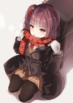 1girl alternate_costume bag bangs blush brown_jacket coat eyebrows_visible_through_hair floral_print girls_frontline gloves hair_ribbon jacket katuo1129 kneeling long_hair long_sleeves looking_at_viewer necktie open_mouth pleated_skirt red_eyes red_hair red_ribbon red_scarf ribbon scarf shadow side_ponytail skirt solo wa2000_(girls_frontline) white_background white_gloves