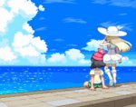 2girls animated animated_gif arm_at_side arm_support arm_up beanie black_hair blonde_hair blue_sky boots day dress evening floating_hair from_behind green_shorts hand_in_hair hat horizon knee_boots lillie_(pokemon) long_hair mizuki_(pokemon_sm) multiple_girls ocean outdoors pier pixel_art pokemon pokemon_(game) pokemon_sm red_hat sailor_dress see-through shirokuro_(oyaji) shirt short_hair short_sleeves shorts sitting sky standing star_(sky) starry_sky sun_hat sundress sunset water white_dress white_hat wind yellow_shirt