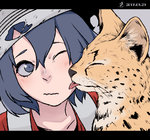 1girl animal animalization blue_eyes blue_hair cheek_licking closed_eyes commentary dated face face_licking grey_background hair_between_eyes hat highres kaban_(kemono_friends) kemono_friends letterboxed licking nanakusa_kayu_(kibou-girl) one_eye_closed red_shirt serval serval_(kemono_friends) shirt short_hair simple_background tongue tongue_out wavy_mouth white_hat