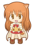 1girl :d animal_ears bangs beige_cape blush boots brown_eyes brown_footwear brown_hair cape chibi collared_shirt commentary_request dog_days dog_ears dog_girl dog_tail eyebrows_visible_through_hair full_body hair_between_eyes long_hair long_sleeves looking_at_viewer naruse_ricotta open_mouth pleated_skirt red_skirt rinechun shirt simple_background skirt smile solo standing sweater_vest tail very_long_hair white_background white_shirt