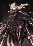 1girl >:( armor armored_dress arms_at_sides black_legwear boots closed_mouth commentary_request doraf floating_hair floating_object forte_(shingeki_no_bahamut) gauntlets gradient gradient_background granblue_fantasy greaves highres holding holding_sword holding_weapon horns inaba_sunimi knee_boots long_hair looking_at_viewer overskirt puffy_short_sleeves puffy_sleeves shingeki_no_bahamut short_sleeves silver_eyes silver_hair solo sword thighhighs weapon