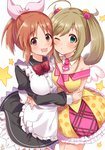 2girls :3 :d abe_nana ahoge apron bangs bare_shoulders black_dress blush bow bowtie breasts brown_hair closed_mouth collarbone commentary_request detached_collar dress eyebrows_visible_through_hair frilled_apron frilled_dress frills green_eyes hair_between_eyes hair_bobbles hair_ornament hair_ribbon hug idolmaster idolmaster_cinderella_girls juliet_sleeves light_brown_hair long_sleeves maid_headdress medium_breasts multiple_girls necktie off-shoulder_shirt omuretsu one_eye_closed open_mouth parted_bangs pink_neckwear pink_ribbon polka_dot_skirt ponytail puffy_sleeves red_eyes red_neckwear ribbon satou_shin shirt short_necktie simple_background skirt smile star twintails white_apron white_background white_collar white_wings wing_collar wings yellow_shirt yellow_skirt
