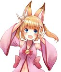 1girl animal_ears armpits arms_up blonde_hair blue_eyes commentary_request detached_sleeves fangs fox_ears hair_ornament hairclip japanese_clothes kemomimi_oukoku_kokuei_housou long_hair mikoko_(kemomimi_oukoku_kokuei_housou) navel open_clothes open_mouth open_shirt pink_shirt shadow_puppet shirt smile solo twintails upper_body