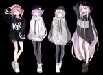 4girls :o absurdres adjusting_headwear arm_behind_head arm_up arms_at_sides baggy_clothes bangs baseball_cap beanie black_background black_footwear black_headwear black_nails black_pants boots braid casual clothes_writing crossed_bangs drawstring drill_hair earrings hand_in_pocket hat hat_writing headphones highres hood hood_down jewelry kasane_teto leggings long_hair long_legs multiple_girls open_mouth oversized_clothes pants parted_lips pink_eyes pink_hair purple_eyes purple_hair sekka_yufu shoes short_hair sidelocks silver_hair single_braid sleeves_past_fingers sleeves_past_wrists sneakers standing striped_hoodie sukone_tei utane_uta utau very_long_hair white_eyes white_footwear white_hair white_headwear white_hoodie xaruex