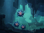 bubble cave diving guodon no_humans pokemon stalactite starmie submarine underwater water