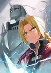 2boys >:( alphonse_elric armor blonde_hair blurry braid brothers depth_of_field edward_elric electricity fullmetal_alchemist height_difference highres horn long_hair looking_to_the_side male_focus matsui_hiroaki multiple_boys ponytail serious siblings spikes yellow_eyes