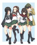4girls abenattou adjusting_clothes adjusting_hat bangs black_eyes black_hair black_legwear black_neckwear blonde_hair blouse blue_background brown_eyes brown_footwear brown_hair caesar_(girls_und_panzer) closed_mouth commentary_request erwin_(girls_und_panzer) girls_und_panzer glasses goggles goggles_on_headwear green_hat green_skirt grin haori hat headband japanese_clothes kneehighs leg_up light_frown loafers locked_arms long_hair long_sleeves looking_at_another looking_at_viewer messy_hair military_hat miniskirt multiple_girls muneate neckerchief one_eye_closed ooarai_school_uniform oryou_(girls_und_panzer) outside_border peaked_cap pleated_skirt pointy_hair red-framed_eyewear red_headband red_scarf saemonza scarf school_uniform semi-rimless_eyewear serafuku shoes short_hair short_ponytail skirt smile standing standing_on_one_leg thighhighs under-rim_eyewear walking white_blouse