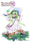 1girl arms_up bag barefoot blue_eyes brave_sword_x_blaze_soul character_request clover commentary_request copyright_name dark_skin dress four-leaf_clover green_hair hands_on_headwear hat highres long_hair low_twintails morino_donguri open_mouth smile solo sun_hat sundress toes twintails white_dress white_headwear