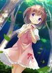 1girl bangs blurry blurry_background blush brown_hair capelet chinomaron commentary day depth_of_field dress dutch_angle eyebrows_visible_through_hair flower_knight_girl forest hair_between_eyes hands_up highres leaf long_hair nature outdoors own_hands_together parted_lips pink_dress purple_eyes red_neckwear signature solo tree tsutsuji_(flower_knight_girl) two_side_up white_capelet