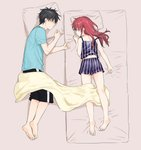 1boy 1girl barefoot black_hair black_shorts blue_shirt blue_shorts brother_and_sister chigusa_asuha chigusa_kasumi closed_eyes from_above full_body futon grey_background long_hair lying on_side on_stomach pillow qualidea_code red_hair sekiya_asami shiny shiny_hair shirt short_shorts short_sleeves shorts siblings simple_background sleeping sleeveless sleeveless_shirt soles striped striped_shirt vertical-striped_shirt vertical-striped_shorts vertical_stripes