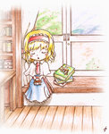 1girl alice_margatroid artist_request ascot blonde_hair blue_dress blush book book_stack bookshelf capelet closed_eyes dress hairband holding holding_book open_mouth sash shanghai_doll short_hair sitting sleeping touhou window