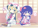 ascot barefoot black_hair blonde_hair blush_stickers bow breasts chibi commentary_request detached_sleeves dress frilled_bow frilled_sleeves frills hair_bow hair_tubes hakurei_reimu hand_up hat hat_ribbon heart heart_of_string highres holding indoors juliet_sleeves layered_dress long_hair long_sleeves looking_at_viewer medium_breasts miniskirt mob_cap outline petticoat puffy_sleeves red_bow red_eyes red_ribbon red_skirt ribbon ribbon-trimmed_sleeves ribbon_trim shinoba sitting skirt skirt_set sliding_doors smile spoken_heart string_phone touhou very_long_hair wariza white_bow white_headwear white_outline wide_sleeves yakumo_yukari yellow_eyes yellow_neckwear yuri