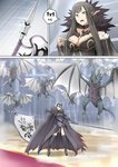 2girls armor banner boots breasts brown_hair cape cleavage commentary_request dragon dragon_claw dragon_wings fate/grand_order fate_(series) flag fur_collar fur_trim ginhaha glowing glowing_eyes grey_hair headwear jeanne_d'arc_(alter)_(fate) jeanne_d'arc_(fate)_(all) large_breasts long_hair multiple_girls pointy_ears polearm red_carpet semiramis_(fate) short_hair spear spikes sweatdrop thighhighs weapon wings wyvern yellow_eyes