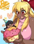 2girls agawa_ryou ahoge artist_self-insert blonde_hair blush_stickers borrowed_character bow breasts cupcake dark_skin eyebrows_visible_through_hair food ganguro hair_bow happy_birthday huge_breasts in_food kirbila_(yellow_kirby) krubby_(yellow_kirby) long_hair minigirl mole mole_under_eye multiple_girls open_mouth original red_bow red_eyes sidelocks sleeveless sleeveless_turtleneck thick_eyebrows turtleneck watermark web_address