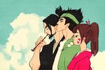 1girl 2boys bad_id bad_twitter_id beard black_hair cloud d.va_(overwatch) dango day facial_hair food genji_(overwatch) hakata hanzo_(overwatch) holding holding_pipe japanese_clothes jennifer_aberin_johnson kimono kiseru multiple_boys overwatch pipe pipe_in_mouth samurai_champloo sky smoking wagashi whisker_markings