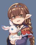 1girl botamochi_(exwelder) braid braided_ponytail brown_eyes brown_hair bunny commentary_request disgust earrings granblue_fantasy haaselila hair_between_eyes harvin jewelry looking_at_viewer pointy_ears robe shaded_face tiara